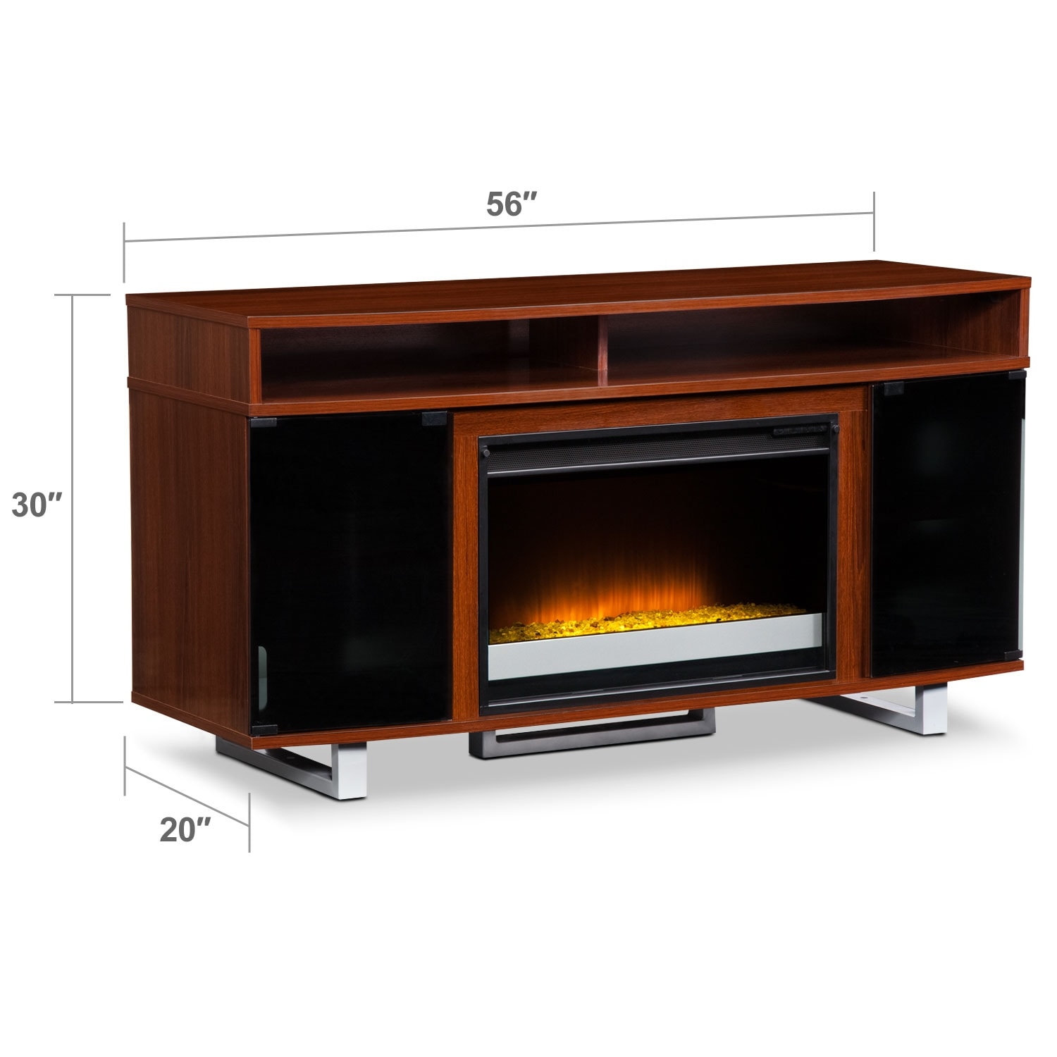 Pacer 56 contemporary fireplace tv stand cherry for American furniture warehouse tv stands