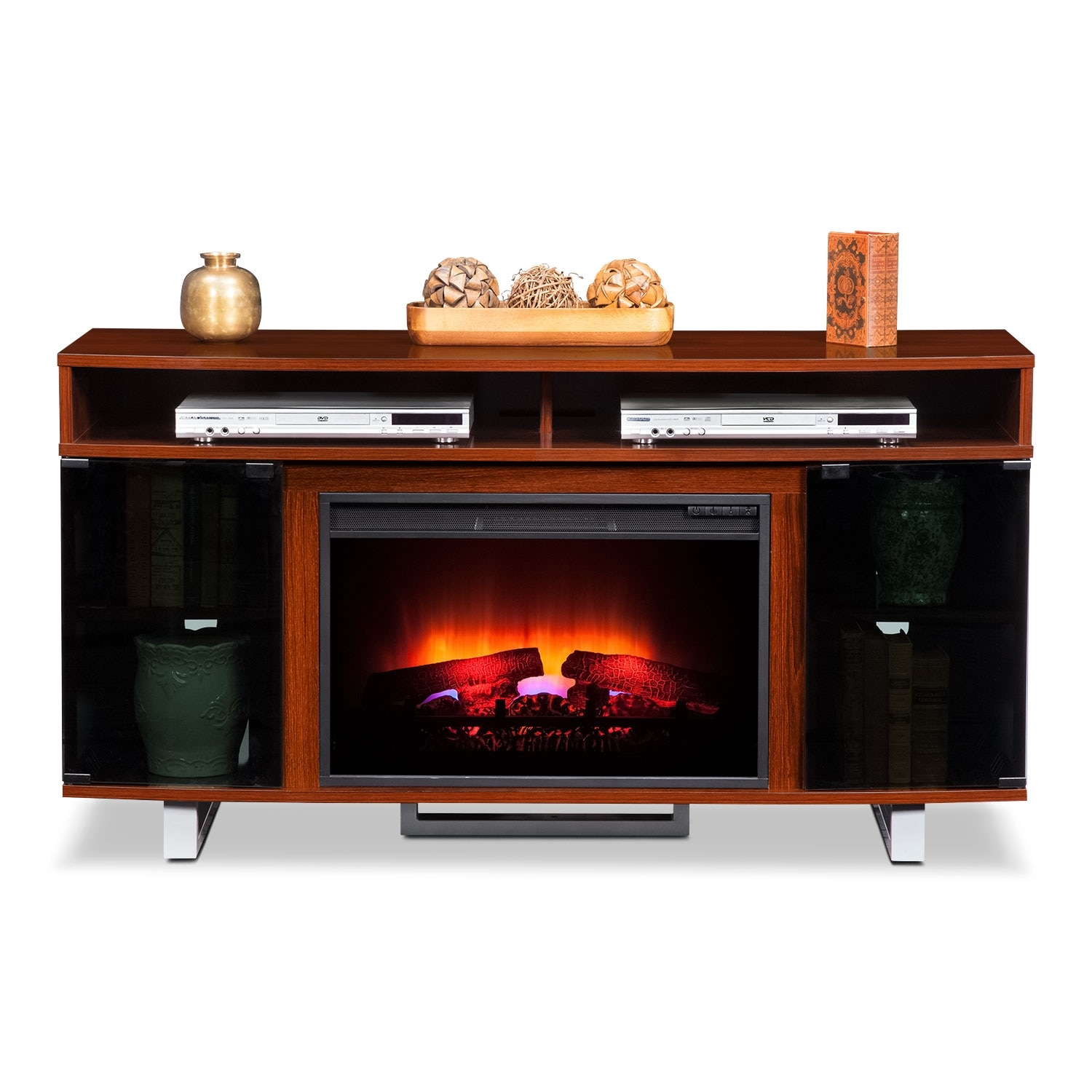 Pacer 56 Traditional Fireplace Tv Stand Cherry Value City Furniture