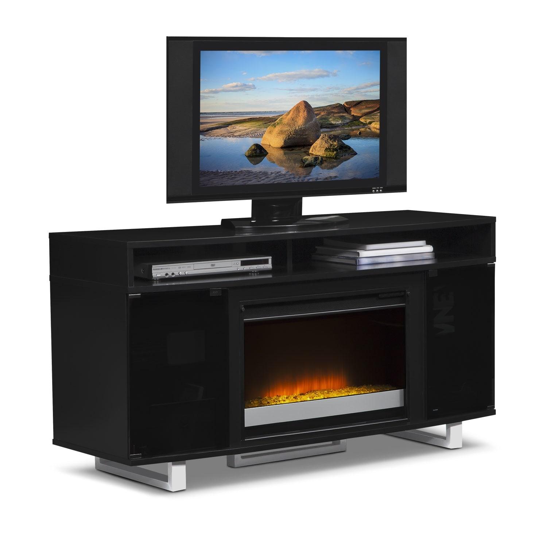 abruzzo black 56 contemporary fireplace tv stand