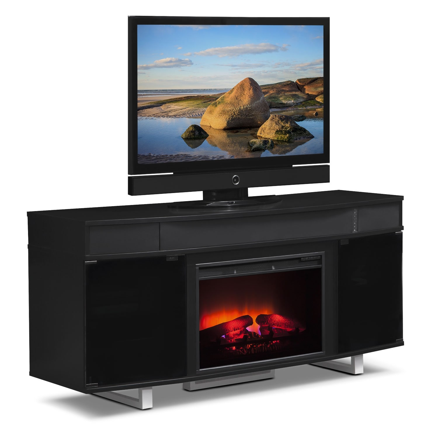 pacer 64 traditional fireplace tv stand with sound bar