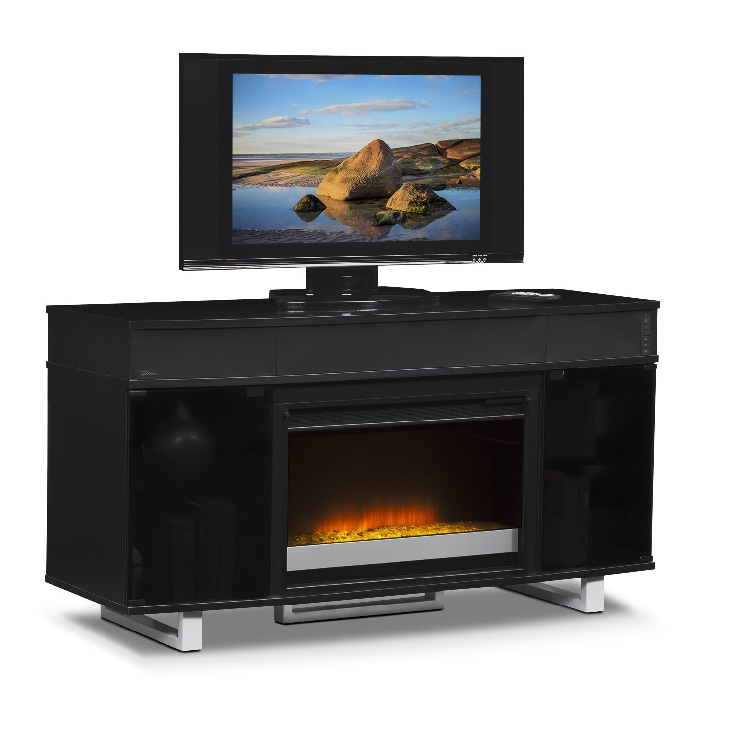 Pacer 56 Contemporary Fireplace Tv Stand With Sound Bar Black Value City Furniture