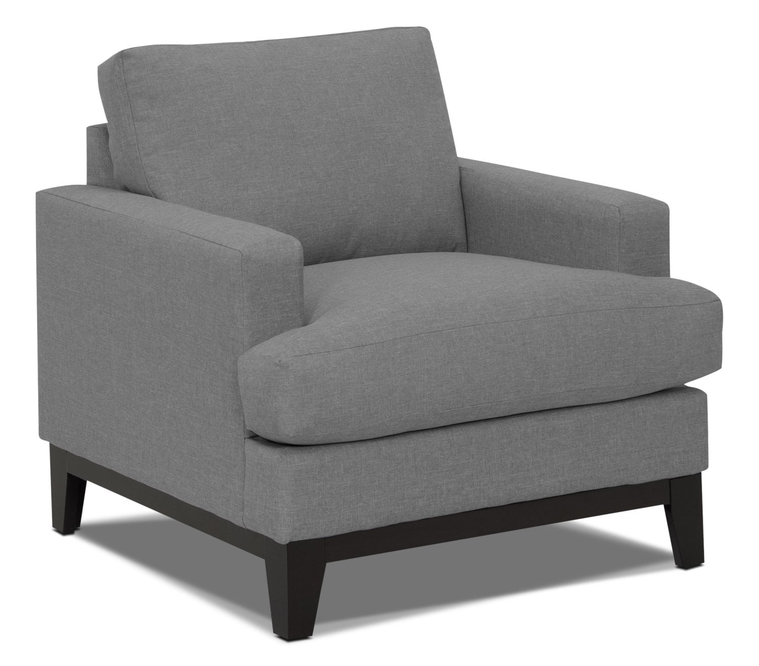 Living Room Furniture - Everly Linen-Look Fabric Chair - Heather Grey