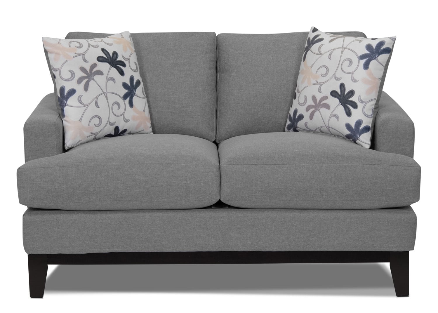 Living Room Furniture - Everly Linen-Look Fabric Loveseat - Heather Grey
