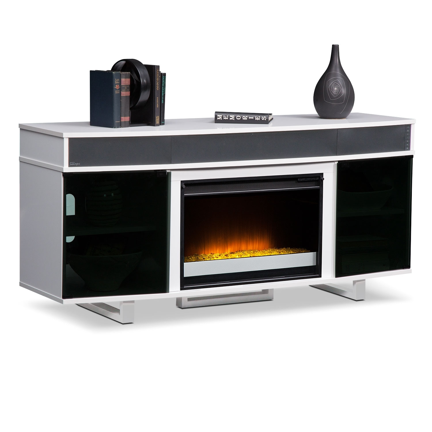 pacer 64 contemporary fireplace tv stand with sound bar