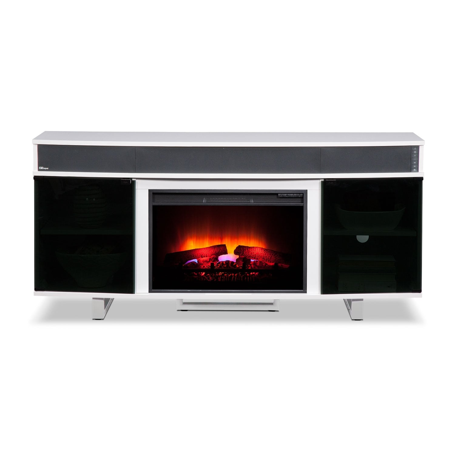 Pacer 64 Traditional Fireplace Tv Stand With Sound Bar White American Signature Furniture