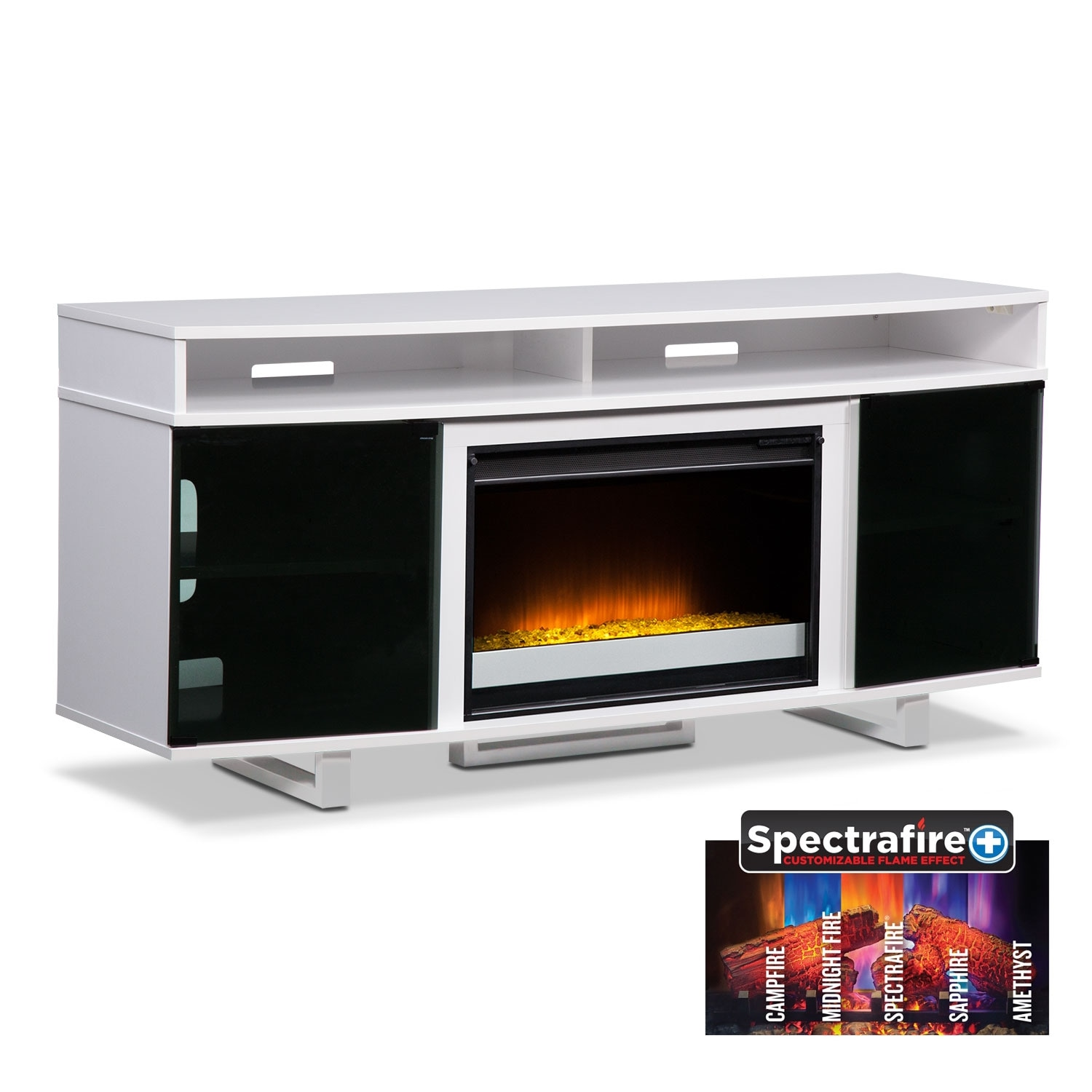 pacer 64 contemporary fireplace tv stand white value