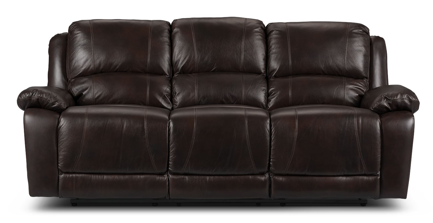 marco genuine leather reclining sofa chocolate the brick. Black Bedroom Furniture Sets. Home Design Ideas