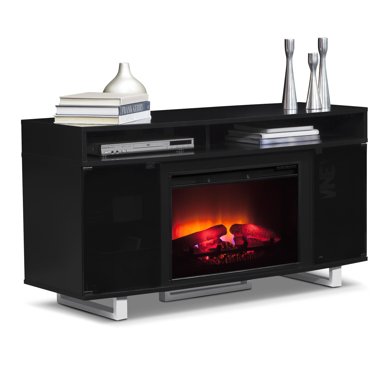 pacer 56 quot traditional fireplace tv stand black
