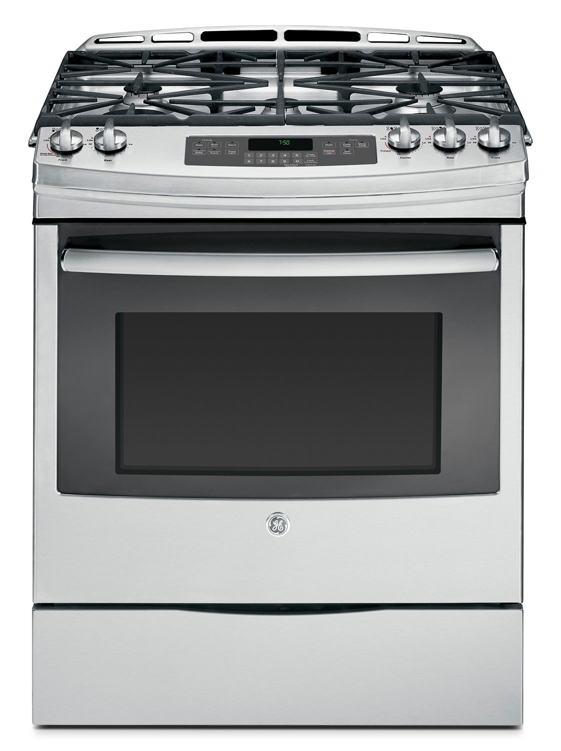 GE Stainless Steel Slide-In Gas Convection Range (5.4 Cu. Ft.) - JCGS750SEFSS