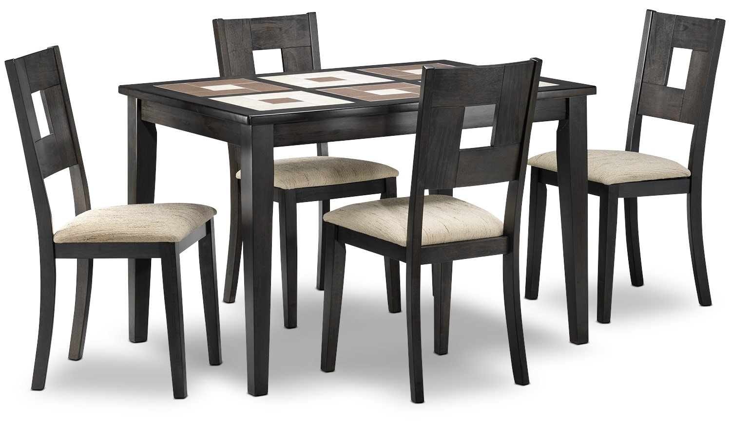 5th avenue 5 piece dinette set espresso and beige leon 39 s for Furniture 5th avenue