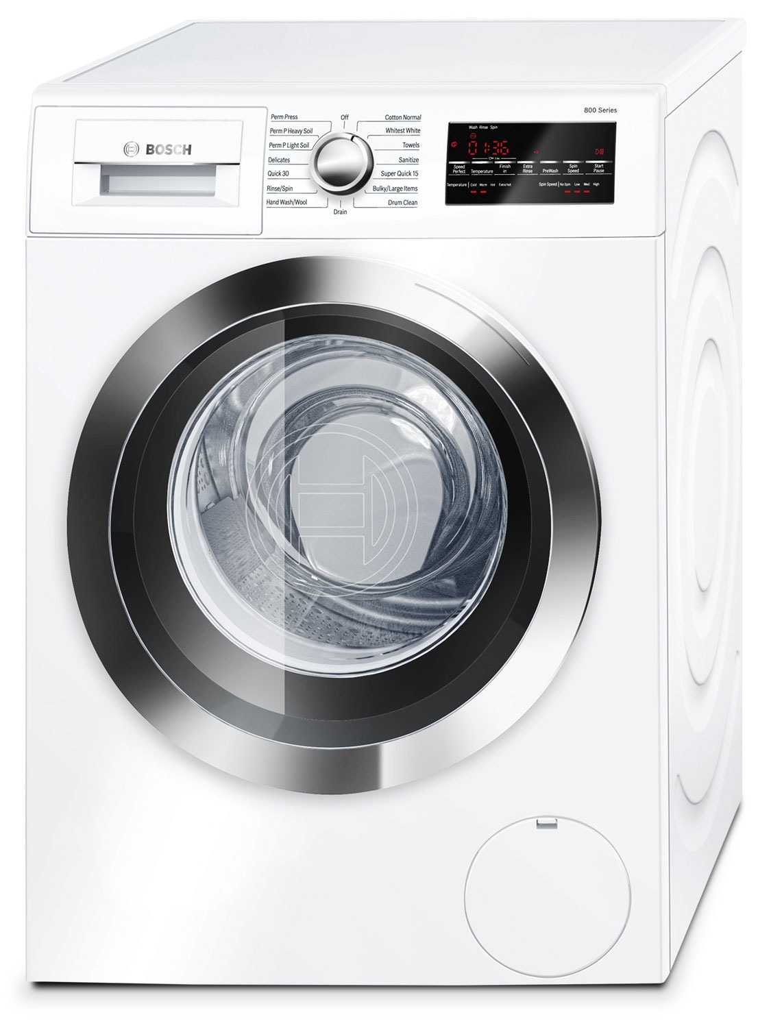 Washers and Dryers - Bosch White and Stainless Steel Front-Load Washer (2.2 Cu. Ft.) - WAT28402UC