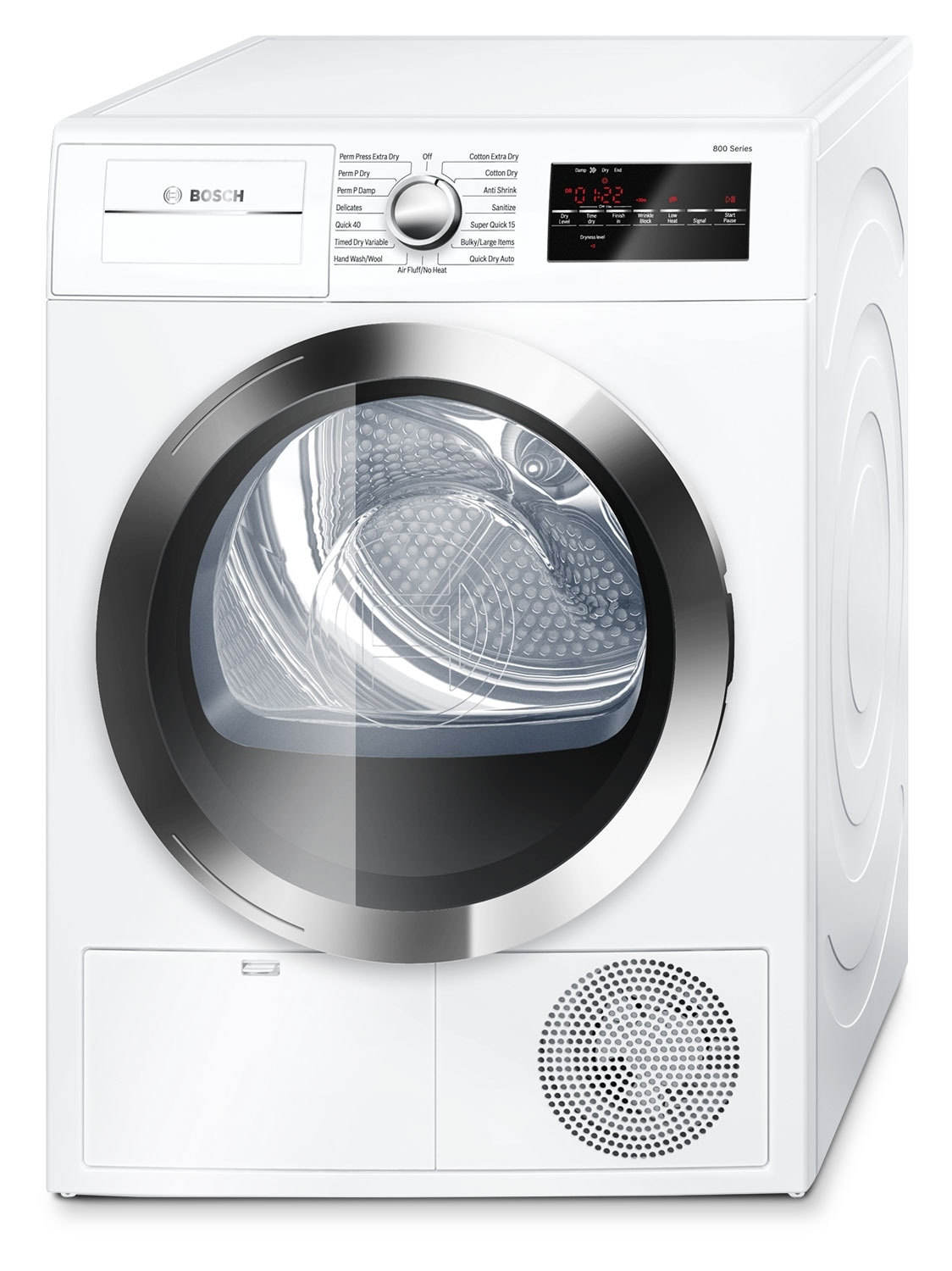 Washers and Dryers - Bosch White and Stainless Steel Electric Dryer (4 Cu. Ft.) - WTG86402UC