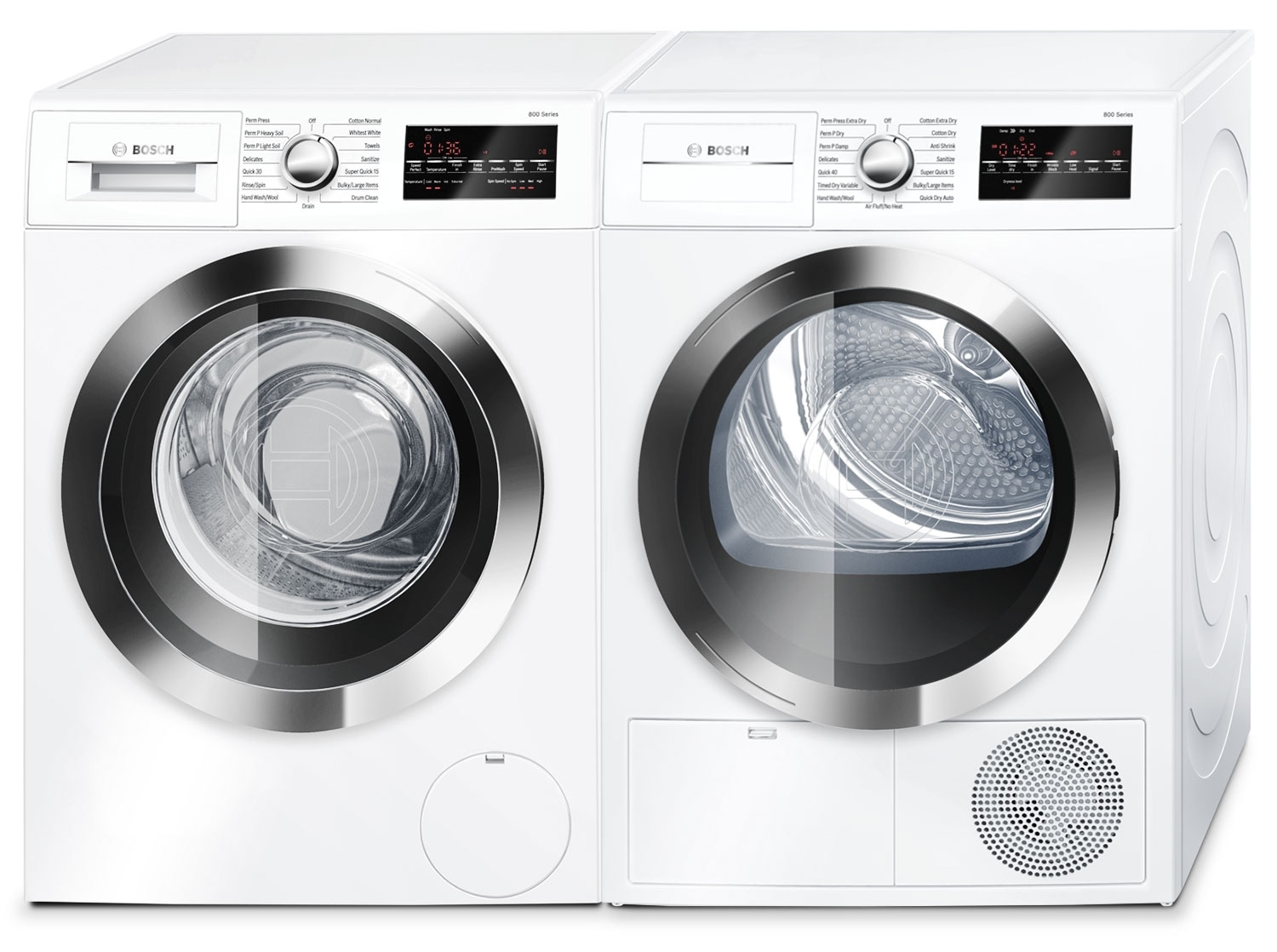 Washers and Dryers - Bosch 800 Series 2.2 Cu. Ft. Compact Washer and 4.0 Cu. Ft. Condensation Dryer - White