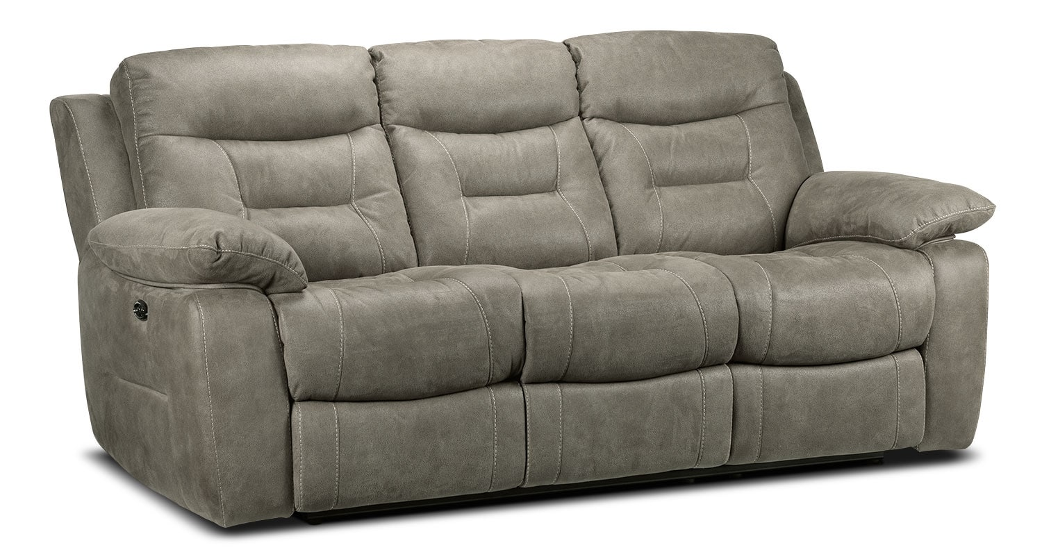 Living Room Furniture - Collins Power Reclining Sofa - Silver