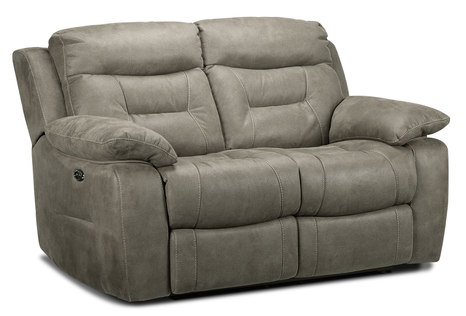 Living Room Furniture - Collins Power Reclining Loveseat - Silver