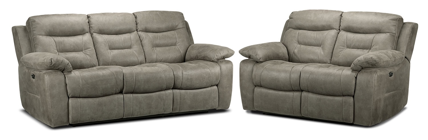 Collins Power Reclining Sofa and Power Reclining Loveseat Set - Silver