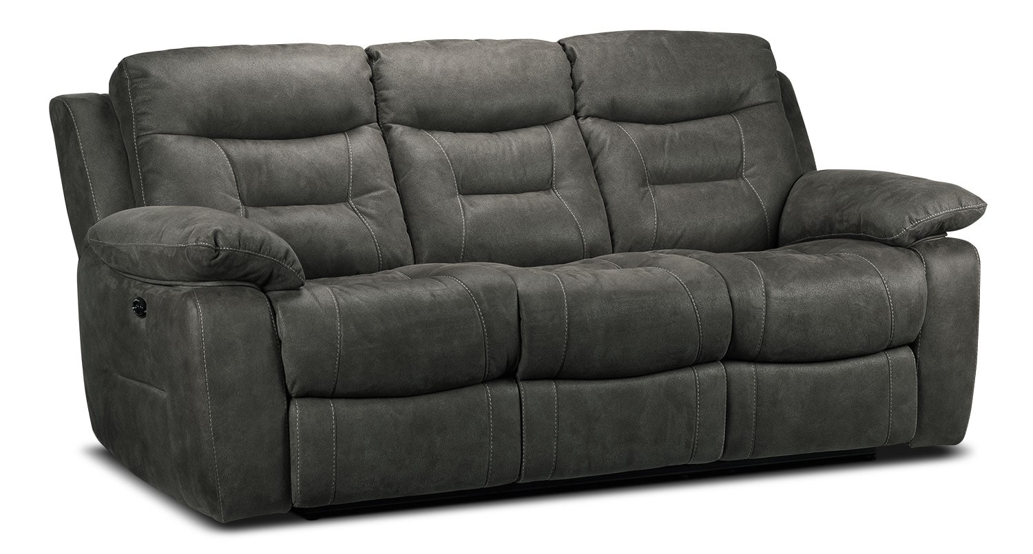 collins power reclining sofa charcoal grey leon 39 s. Black Bedroom Furniture Sets. Home Design Ideas
