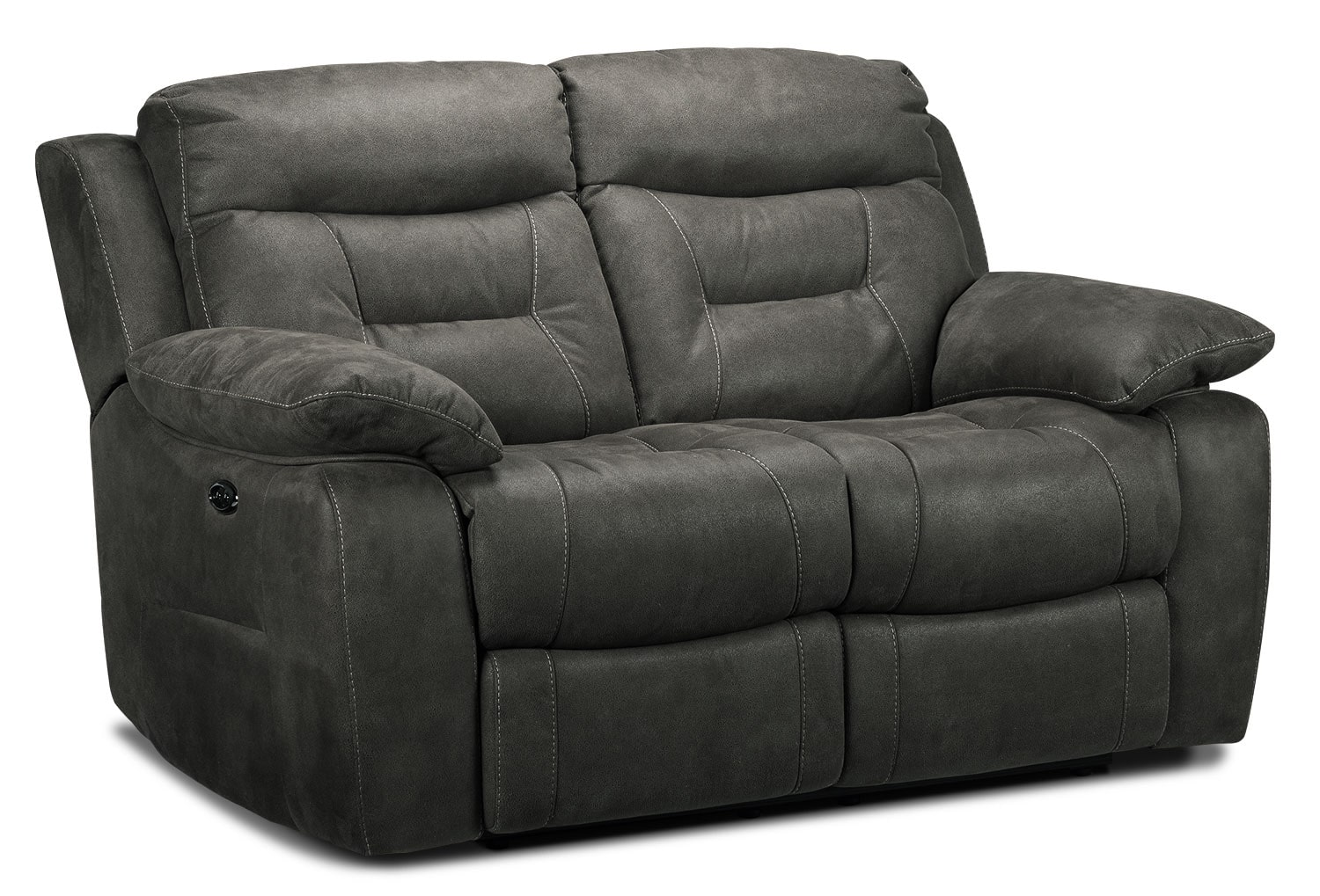 Living Room Furniture - Collins Power Reclining Loveseat - Charcoal Grey