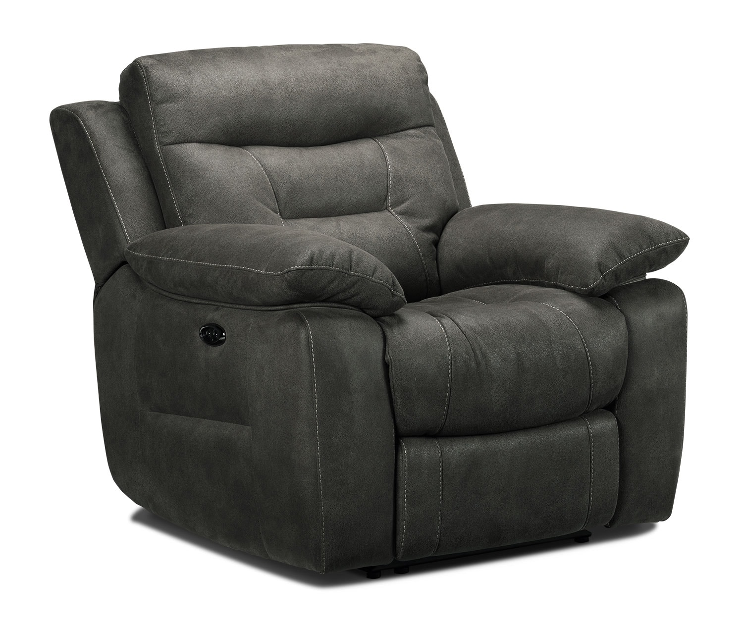 Living Room Furniture - Collins Power Recliner - Charcoal Grey
