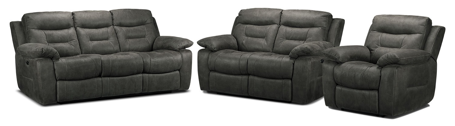 Collins Power Reclining Sofa, Power Reclining Loveseat and Power Recliner Set - Charcoal Grey
