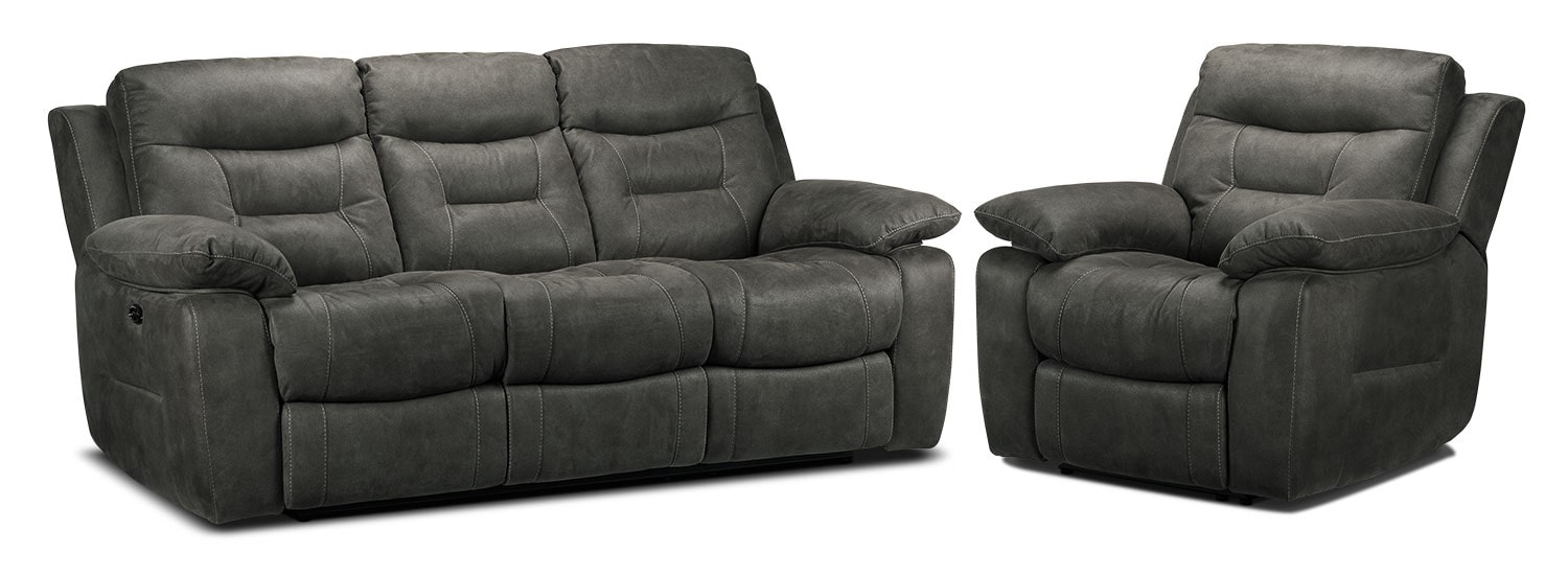 Collins Power Reclining Sofa and Power Recliner Set - Charcoal Grey