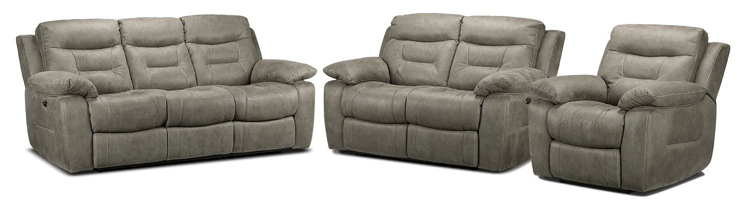 Collins Power Reclining Sofa, Power Reclining Loveseat and Power Recliner Set - Silver