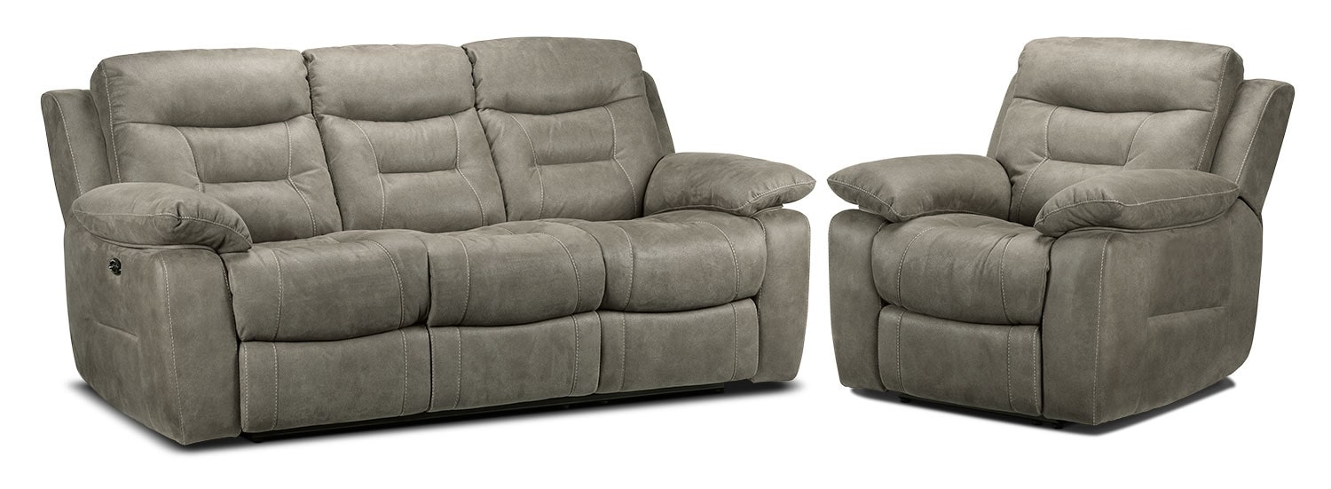 Collins Power Reclining Sofa and Power Recliner Set - Silver