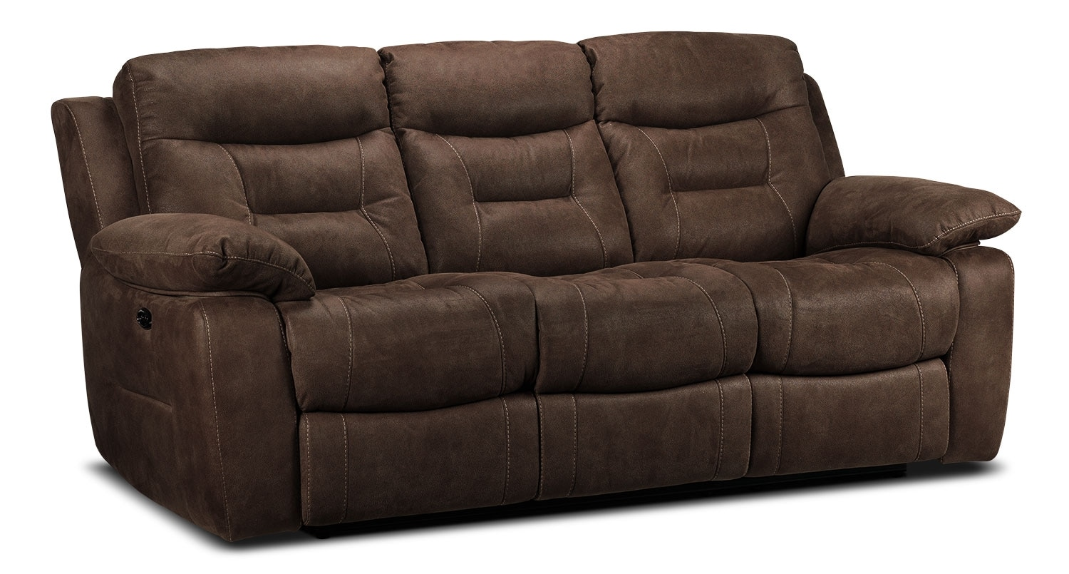 Living Room Furniture - Collins Power Reclining Sofa - Walnut