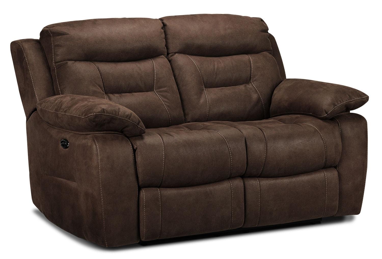 Living Room Furniture - Collins Power Reclining Loveseat - Walnut