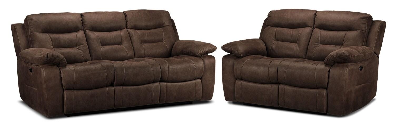 Collins Power Reclining Sofa and Power Reclining Loveseat Set - Walnut