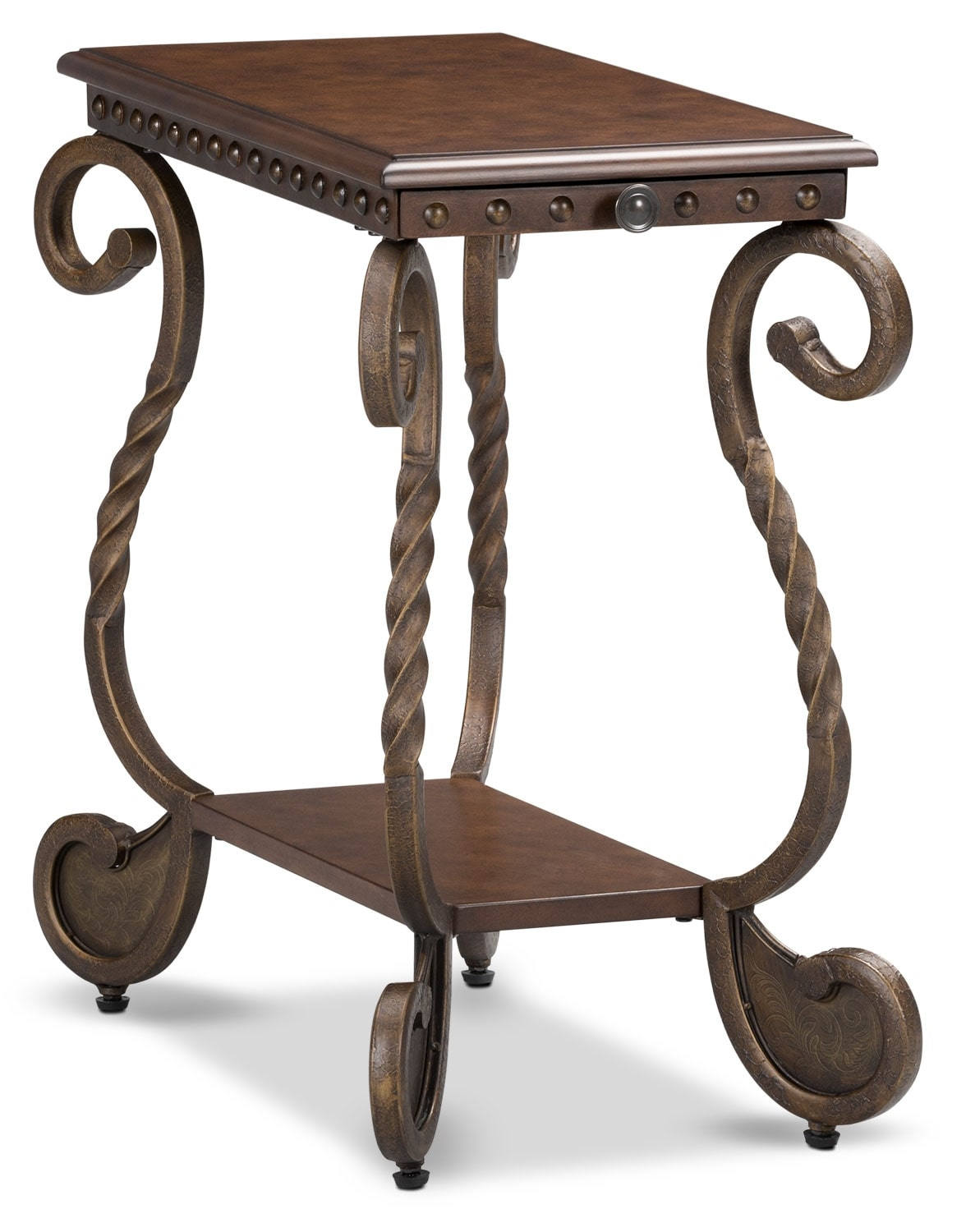 Accent and Occasional Furniture - Cordoba Chairside Table – Dark Brown