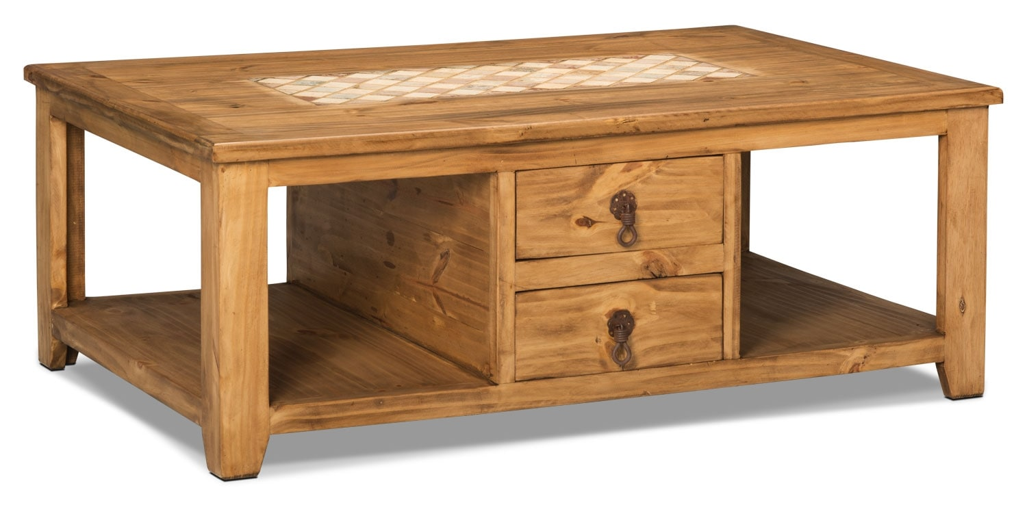 Accent and Occasional Furniture - Santa Fe Rusticos Solid Pine Coffee Table with Marble Inset