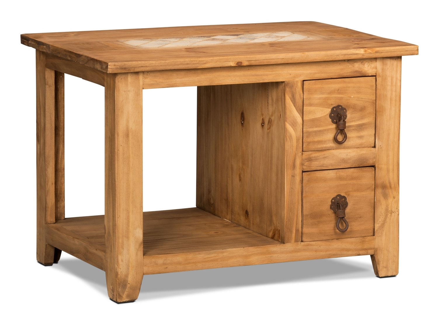 Accent and Occasional Furniture - Santa Fe Rusticos Solid Pine End Table with Marble Inset