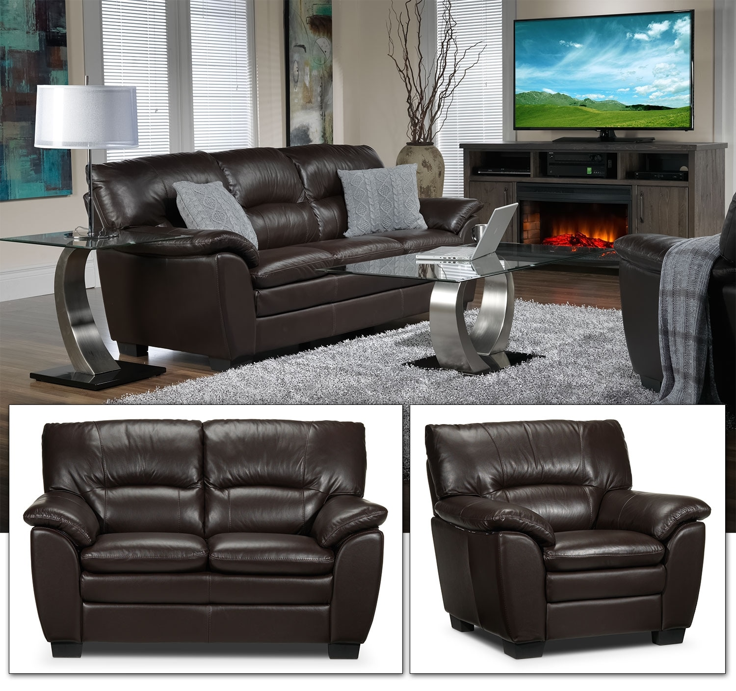 Rodero Sofa, Loveseat and Chair Set - Brown