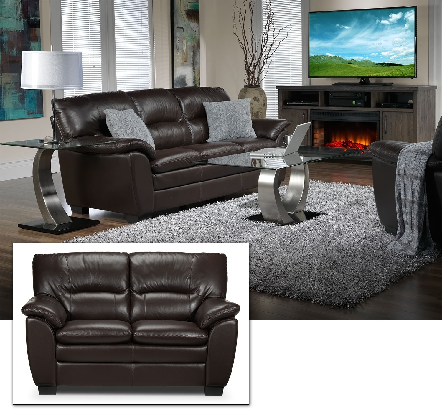 Rodero Sofa and Loveseat Set - Brown