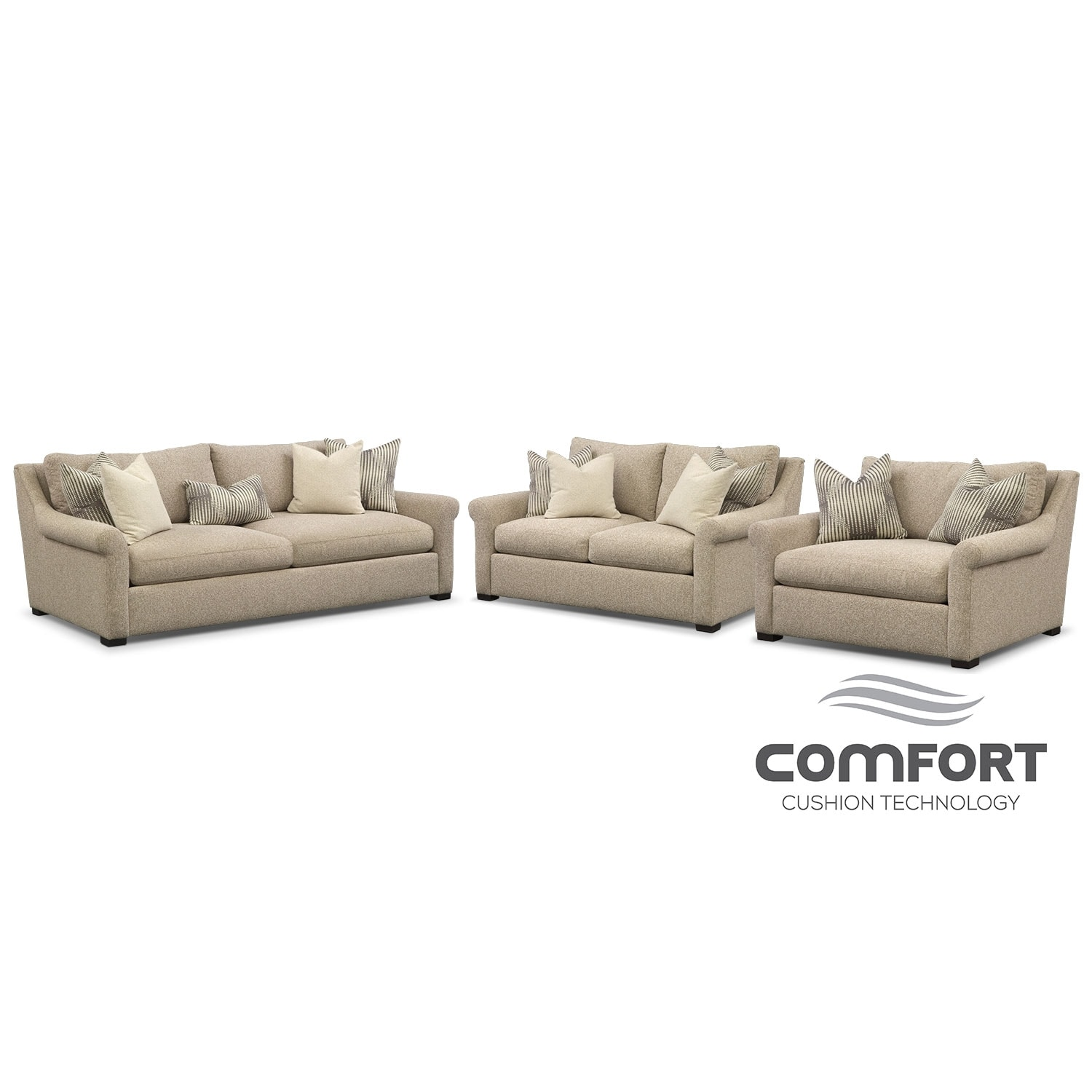 Robertson comfort 3 pc living room package value city for Lounge room furniture packages