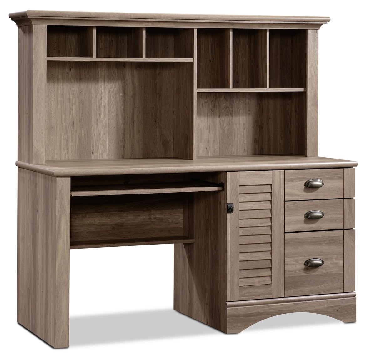 Harbor View Desk with Hutch – Salt Oak