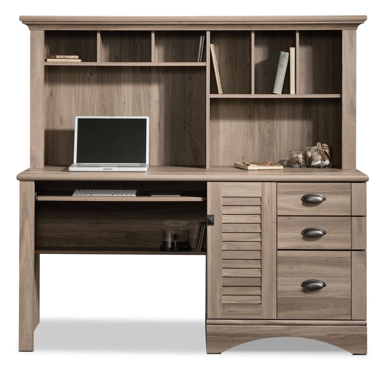 Harbor view desk with hutch salt oak united furniture for Oak harbor furniture