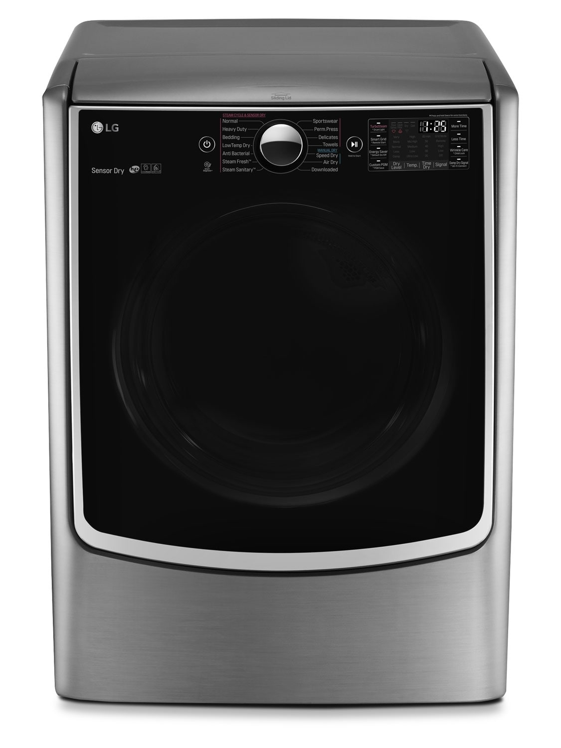 LG 7.4 Cu. Ft. Electric Dryer with TurboSteam™ and LoDecibel™ – Graphite Steel