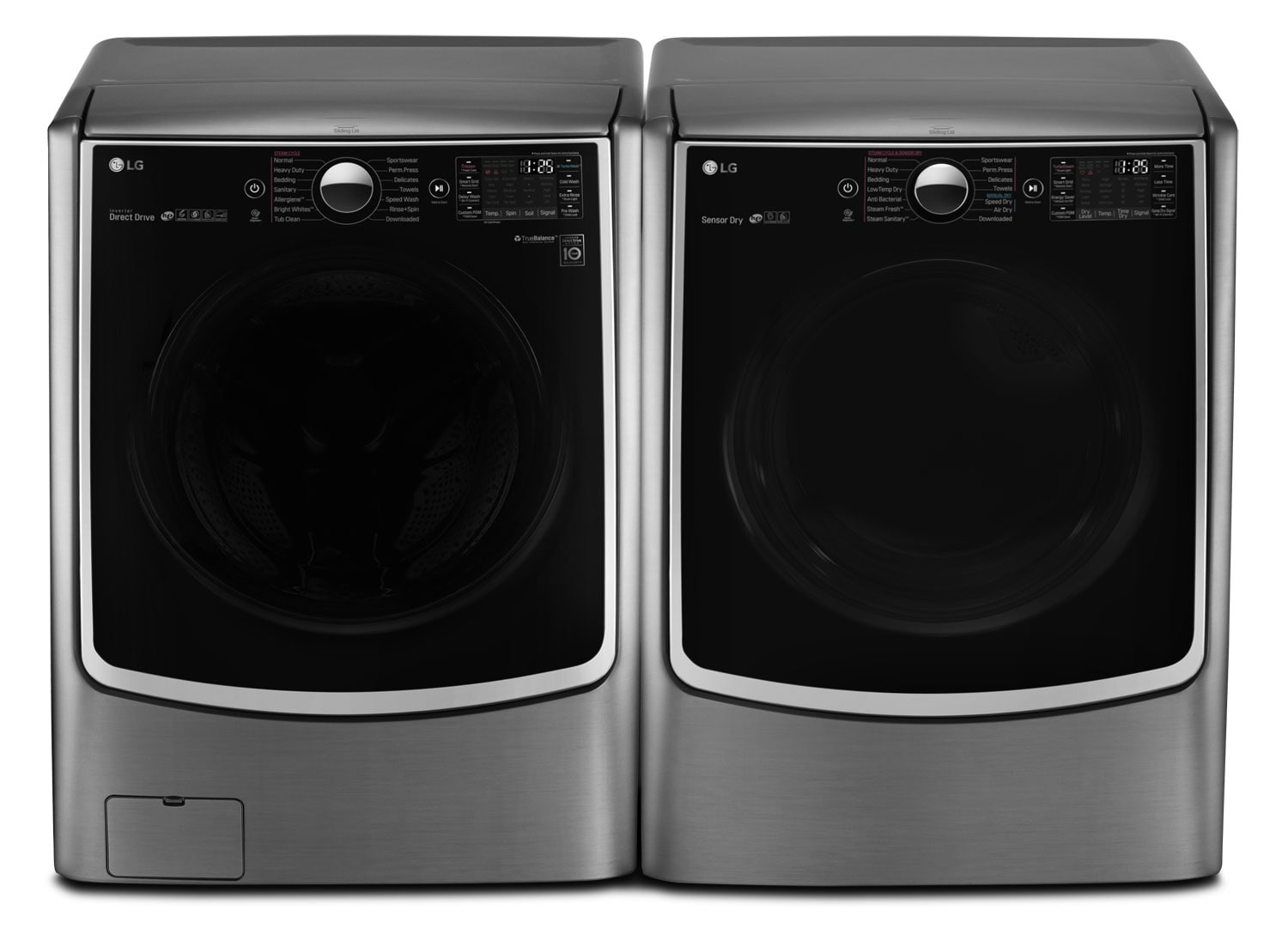 LG 5.2 Cu. Ft. Front-Load Steam® Washer and 7.4 Cu. Ft. Gas Dryer - Graphite Steel