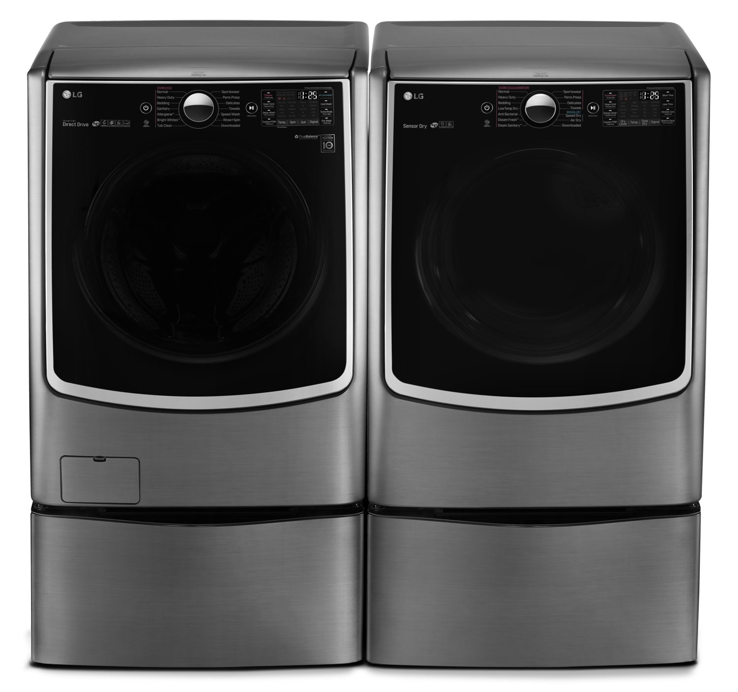 Appliance Accessories - LG 5.2 Cu. Ft. Front-Load Washer, Pedestal Washer and 7.4 Cu. Ft. Gas Dryer – Graphite Steel