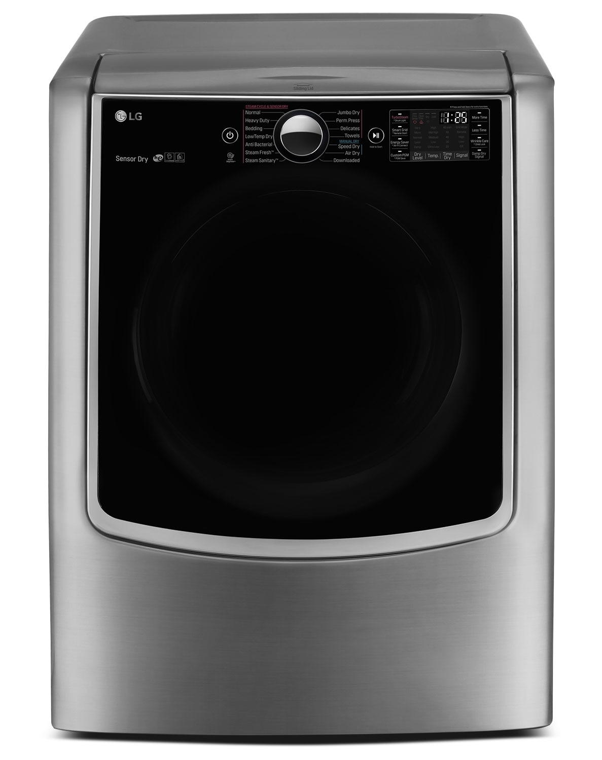 Washers and Dryers - LG 9.0 Cu. Ft. Mega Capacity Gas Steam Dryer – Graphite Steel