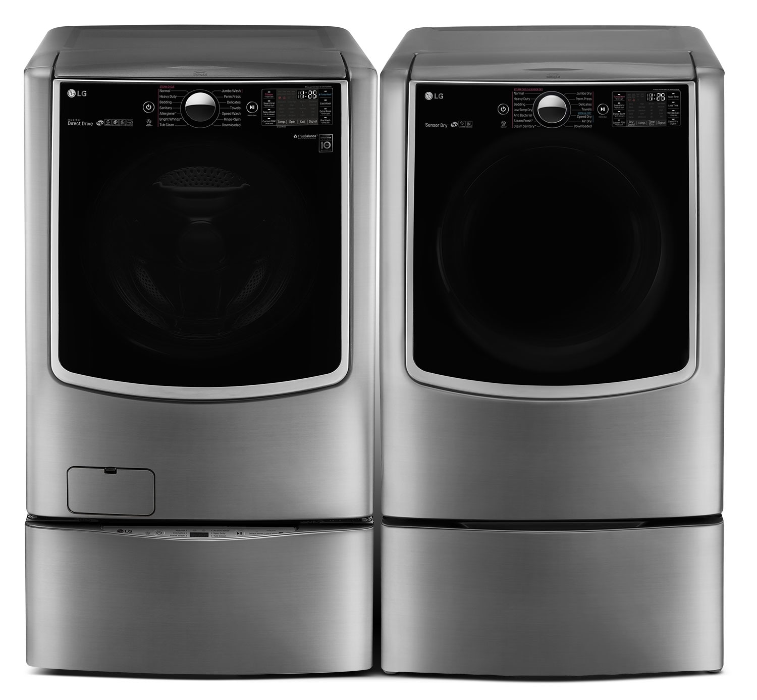 Washers and Dryers - LG TWIN Wash™ 6.0 Cu. Ft. Washer, Pedestal Washer and 9.0 Cu. Ft. Electric Dryer – Graphite Steel