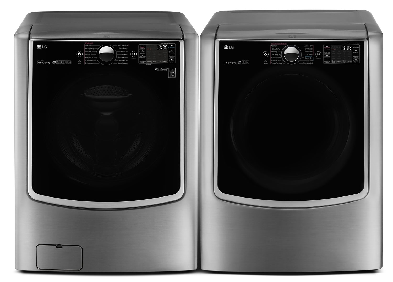 Washers and Dryers - LG 6.0 Cu. Ft. Front-Load Steam Washer and 9.0 Cu. Ft. Electric Dryer – Graphite Steel