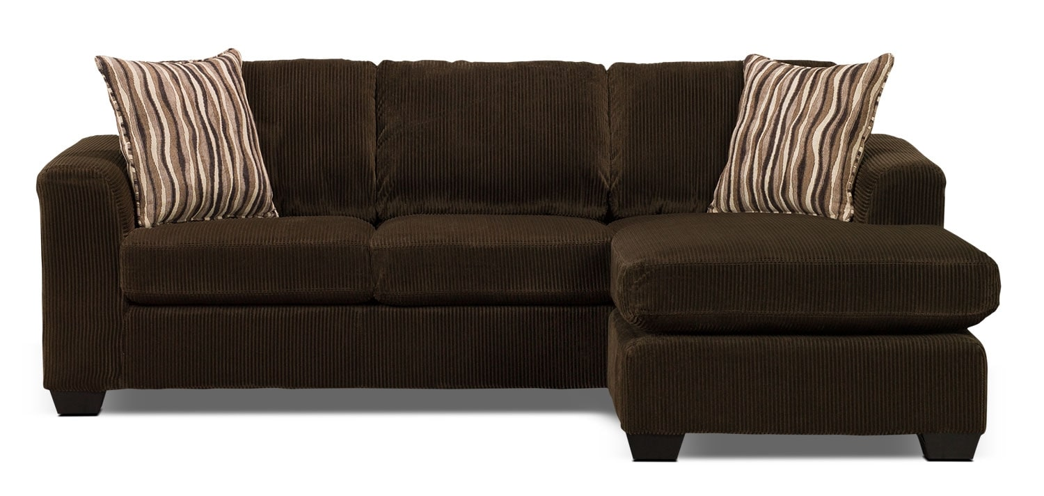 Nina 2 piece corded microsuede sectional with chaise for Brown sectional sofa with chaise