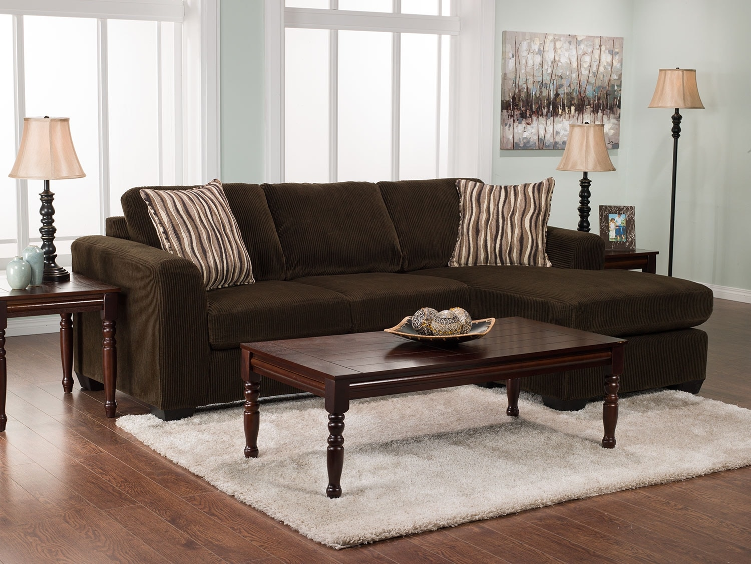 Nina 2piece Corded Microsuede Sectional With Chaise – Chocolate  The Brick