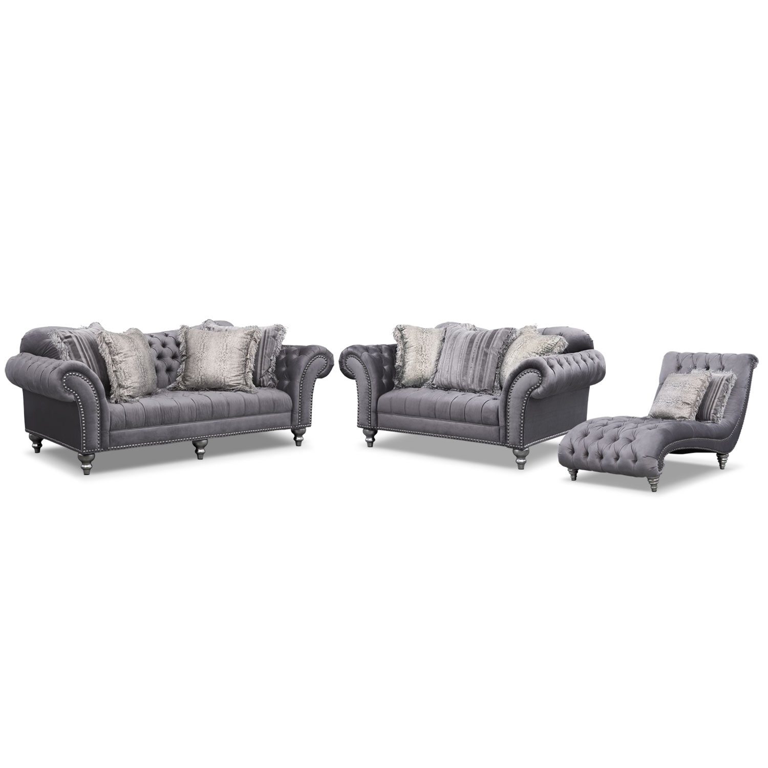 [Brittney Gray 3 Pc. Living Room w/Chaise]
