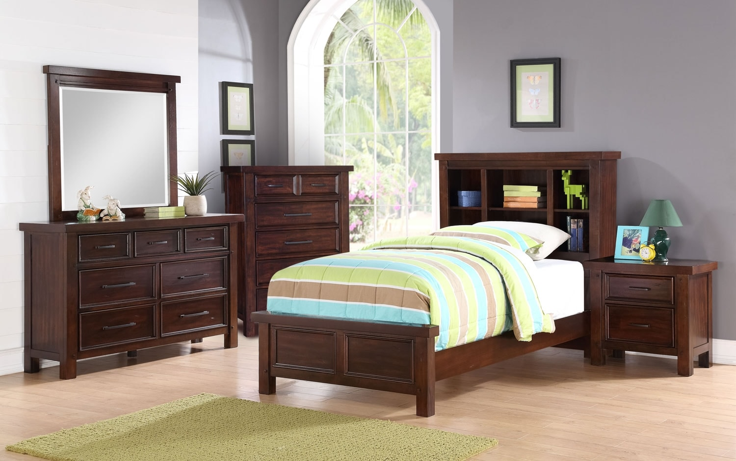 Kids Furniture - Sonoma Youth 7-Piece Bookcase Bedroom Package – Full
