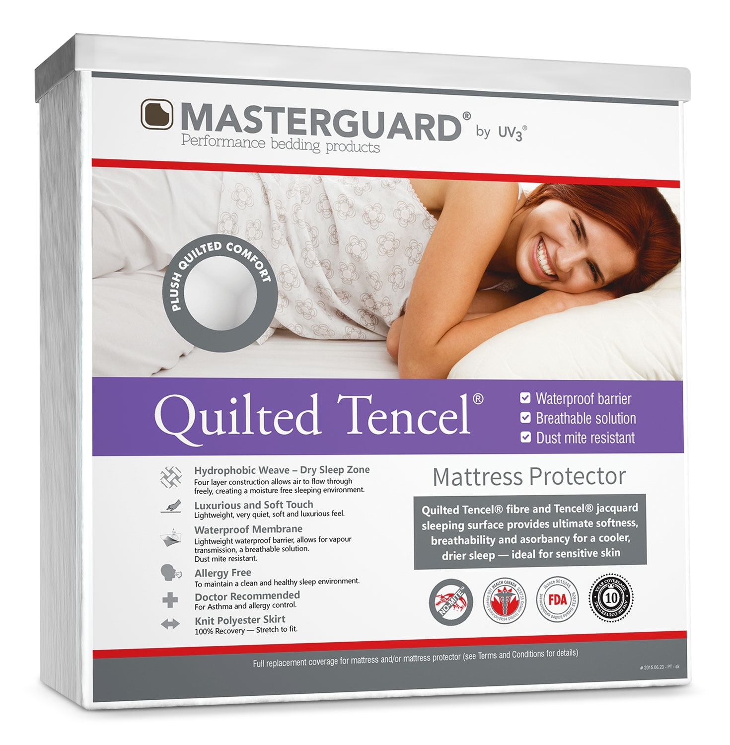 Mattresses and Bedding - MasterGuard® Quilted Tencel® Mattress Protector - Queen