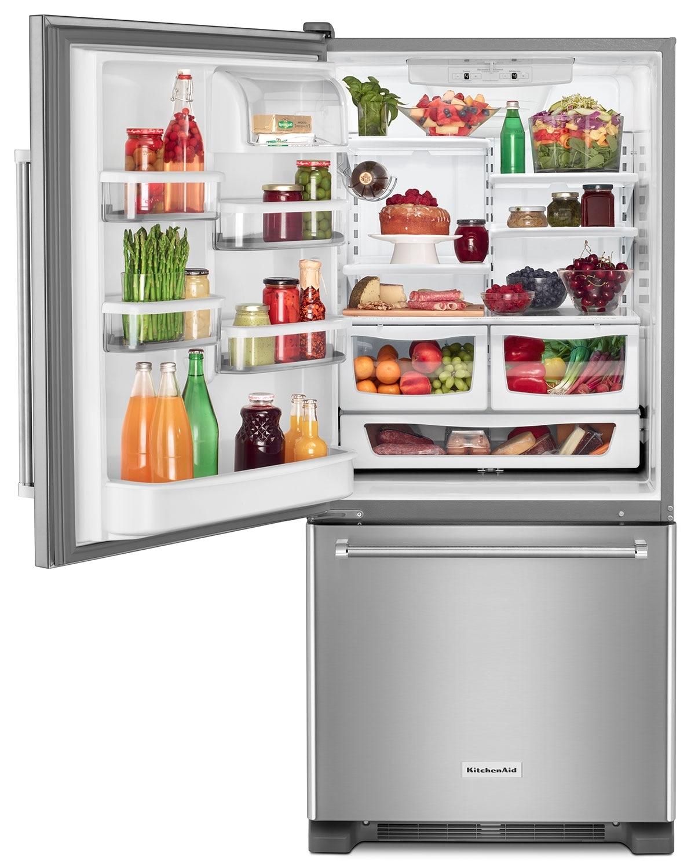KitchenAid Stainless Steel Bottom-Freezer Refrigerator (18.7 Cu ...